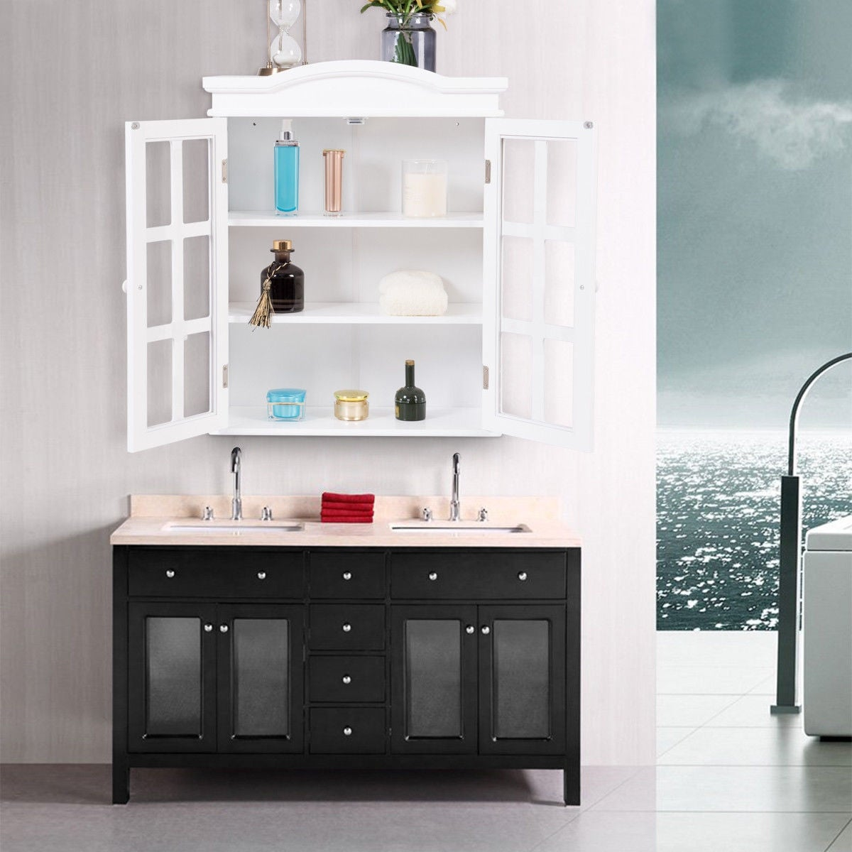 Shop Costway Wall-Mount Bathroom Storage Cabinet Medicine Organizer Double Doors Shelved - White - Free Shipping Today - Overstock.com - 20708459