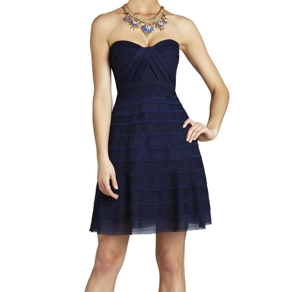 c4b26b39 Shop BCBG Max Azria NEW Blue Women Size 12 Shutter Tiered Sheath Dress -  Free Shipping Today - Overstock - 18379083
