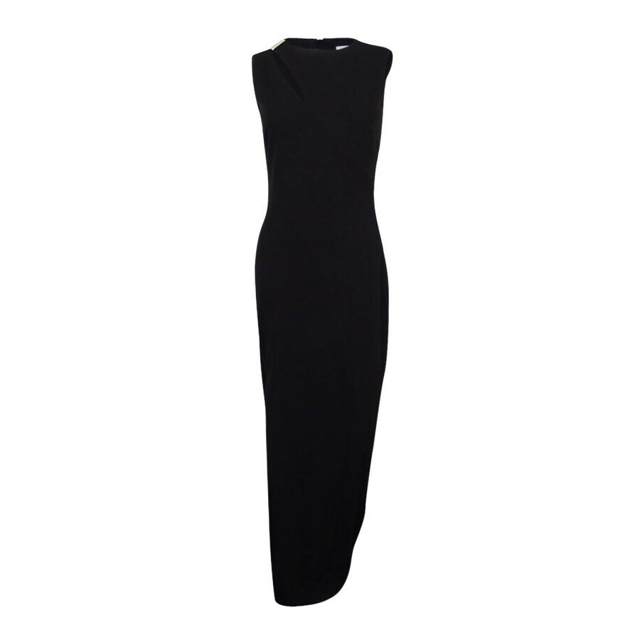 Shop Calvin Klein Women\'s Keyhole Column Gown - Black - On Sale ...