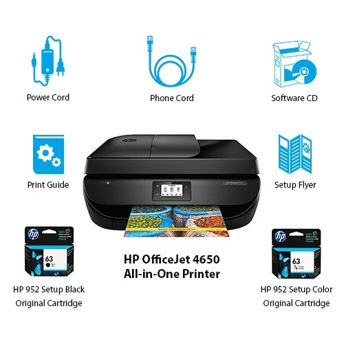 HP OfficeJet 4650 Multifunction CMYK Color Printer w/ Automatic Duplex  Printing