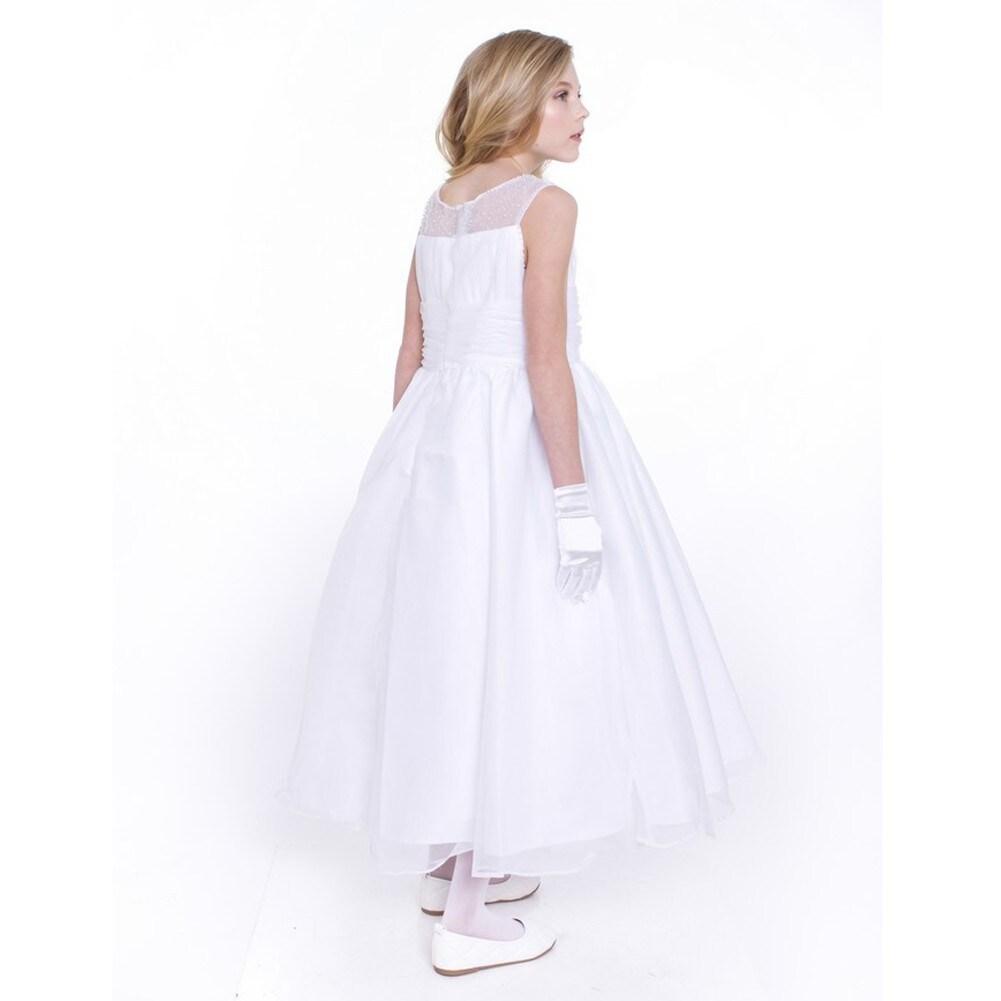 Shop Girls White Chiffon A Line Pearls Flower Girl Dress Free