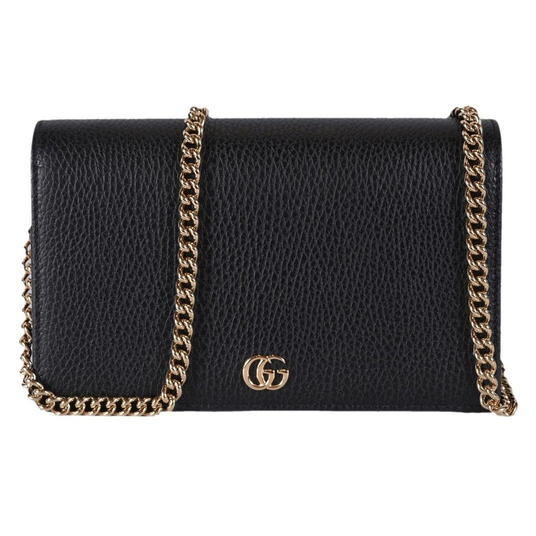 4f0aec8869e3 Shop Gucci Women's Black Leather GG Marmont Mini Chain Crossbody Purse Bag  - Free Shipping Today - Overstock - 25659845