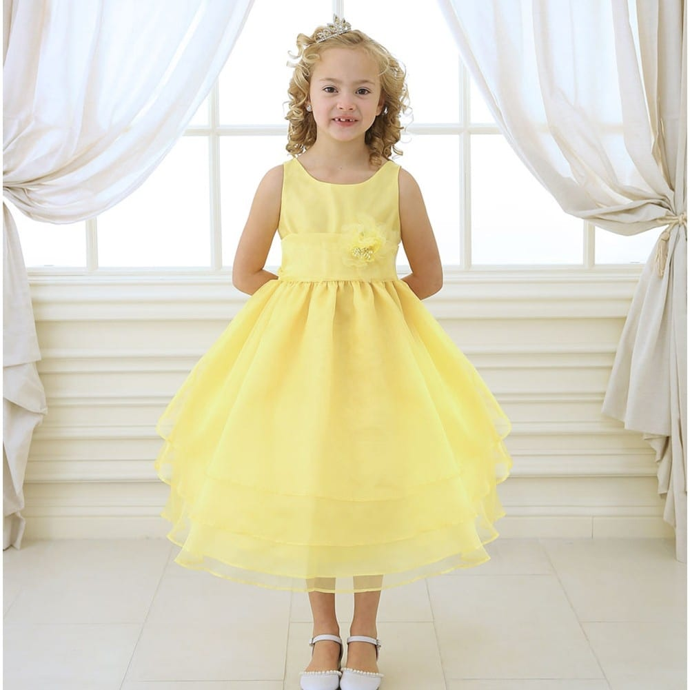 Shop Little Girls Yellow Floral Sash Flower Girl Dress 2t 6 Free