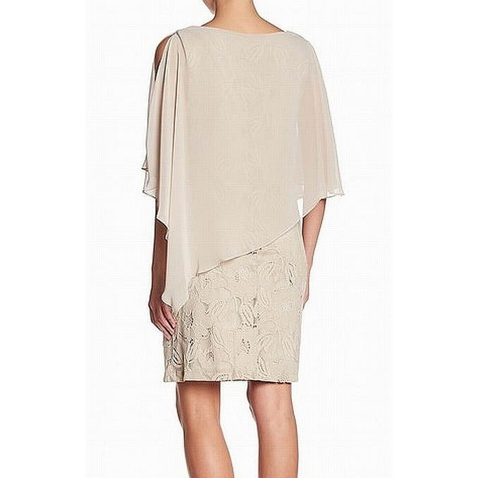 e99caa8730e10 Shop Connected Apparel Beige Women Size 10 Lace Cape Overlay Sheath Dress -  Free Shipping On Orders Over  45 - Overstock.com - 27142861