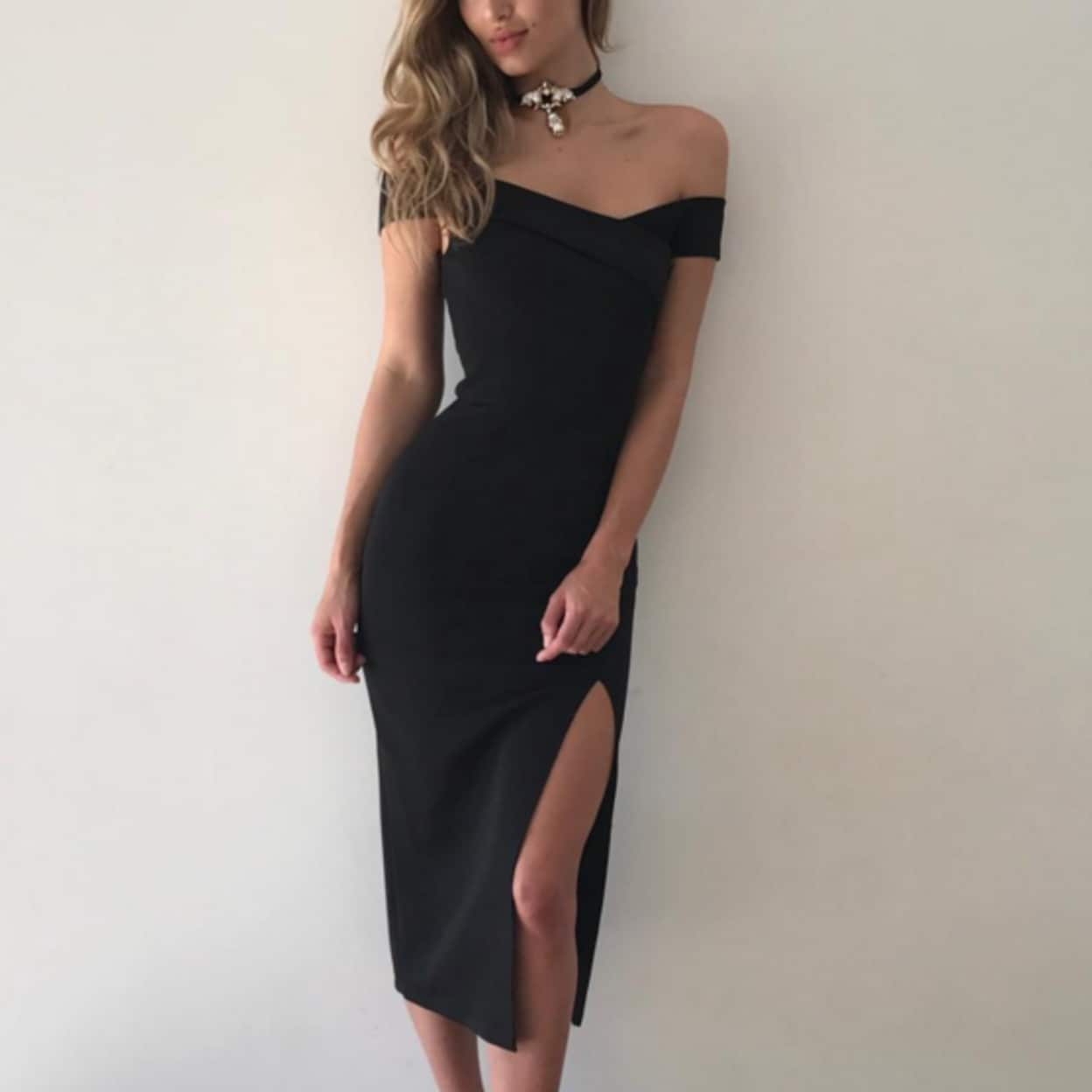 608cb3b3824 Shop Elegant Summer Sexy Women Bodycon Dresses Off Shoulder Side Slit Plus  Size Dress - On Sale - Ships To Canada - Overstock - 23017605