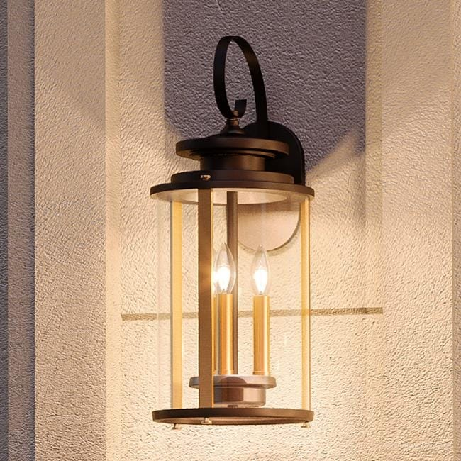 Luxury Rustic Outdoor Wall Light 19 25 H X 8 W With Colonial Style Elements Olde Bronze Finish By Urban Ambiance