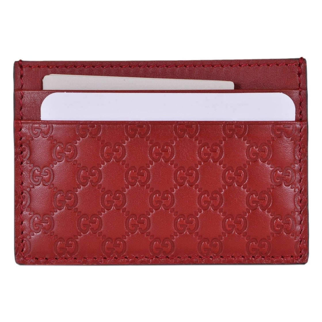 d2bfcf1eed50 Shop Gucci 476010 Red Leather Micro GG Guccissima Small Card Case - 4