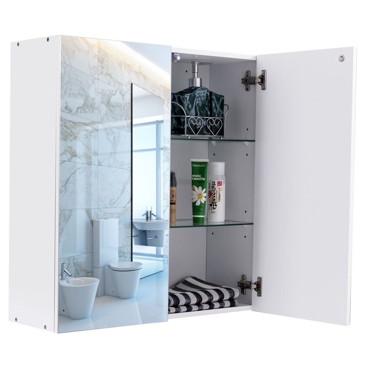 Gymax 24 Wide Wall Mount Mirrored Bathroom Medicine Storage Cabinet 2 Mirror Door New Free Shipping Today 22996221