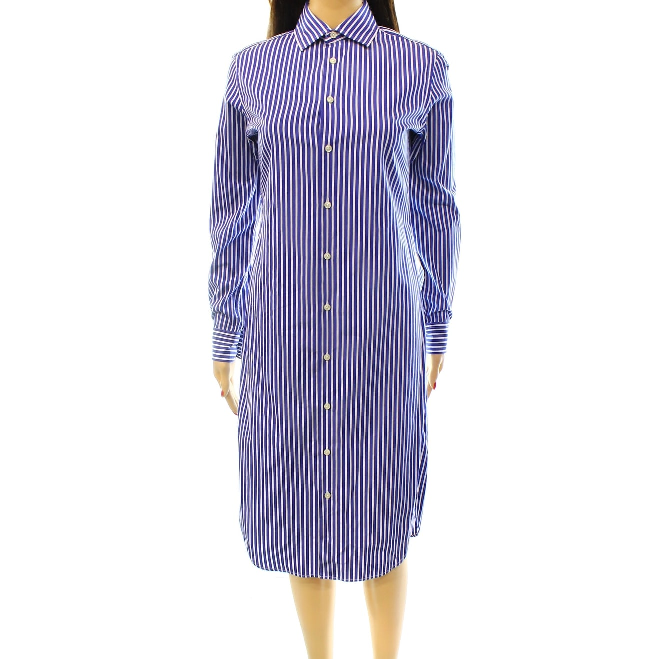 6afd41397fb Shop Polo Ralph Lauren NEW Blue Womens 12 Striped Long-Sleeve Shirt Dress -  Free Shipping Today - Overstock - 20032799