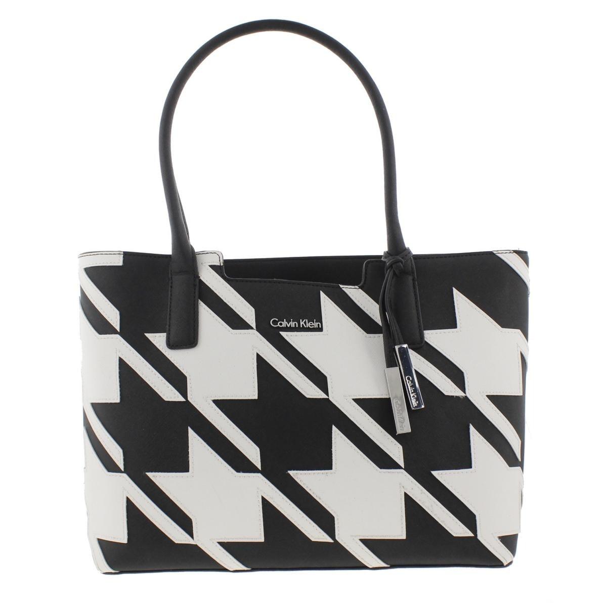 Calvin Klein Womens Tote Handbag Saffiano Leather Houndstooth ...