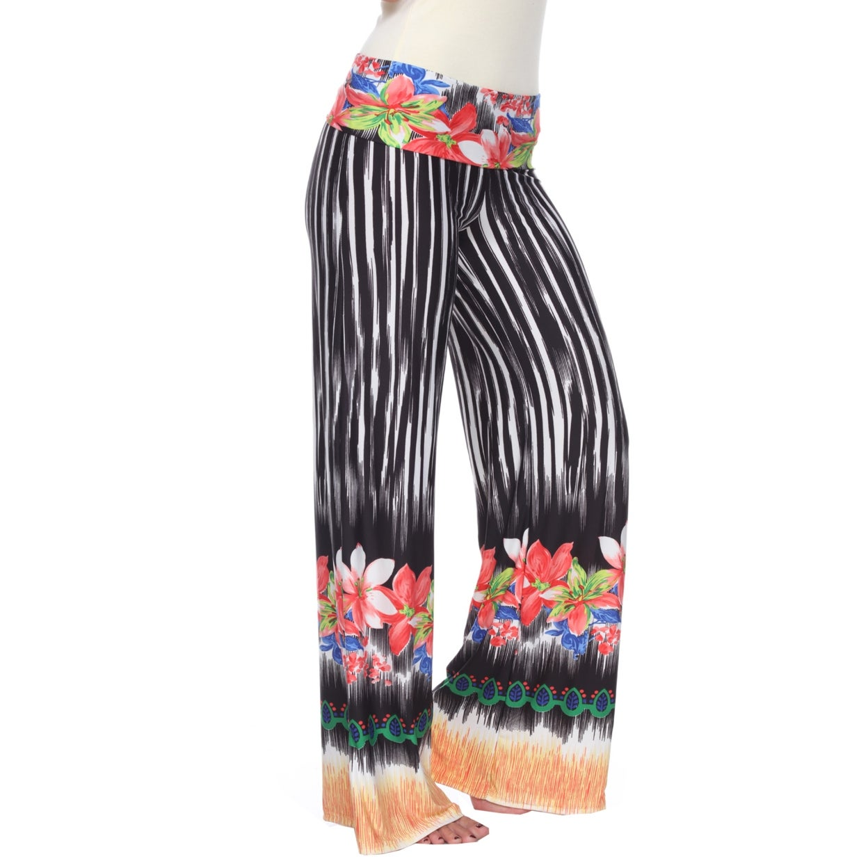 d6e75bdeb1be8 Shop Tropicana Print Palazzo Pants - Black & White - On Sale - Ships To  Canada - Overstock - 23041977