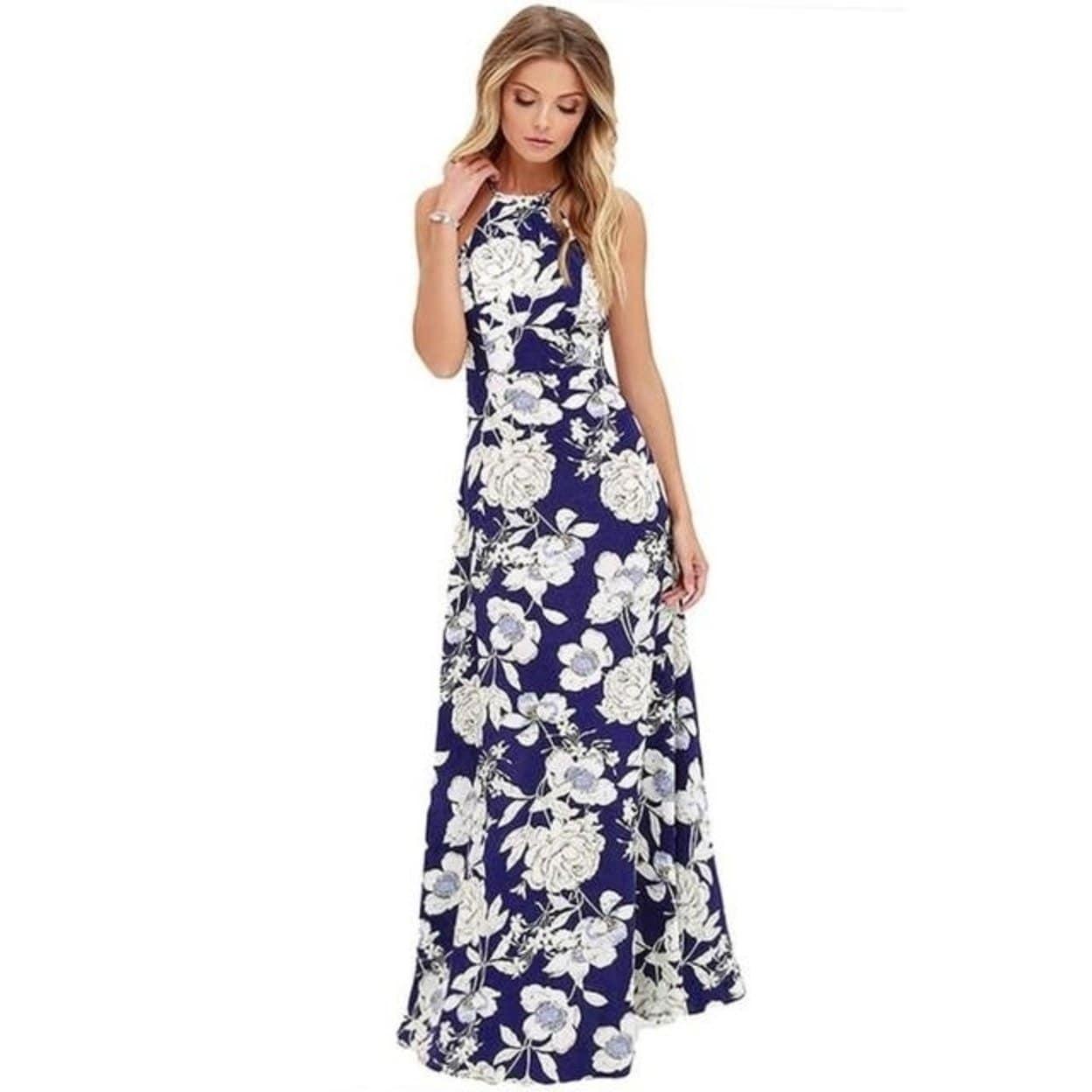 a92012ca74b0 Shop Summer Dress Women Boho Long Maxi Evening Party Dress Hot Backless Beach  Dresses Flower Print Halter Sundress - Free Shipping On Orders Over  45 ...