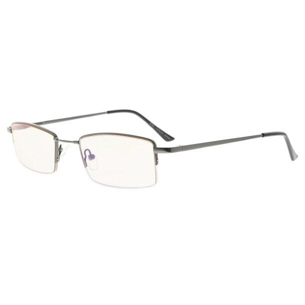943dceb32f26 Shop Eyekepper Half-rim Titanium Bridge Reading Glasses Blue Light Blocking  Readers Amber Tinted Lenses(Gunmetal