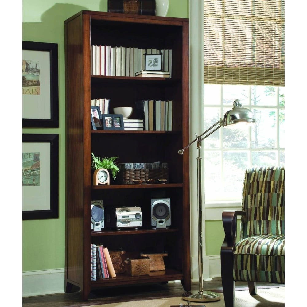 Shop hooker furniture 388 10 422 32 wide birch wood shelving unit from the danforth collection rich medium brown free shipping today overstock com