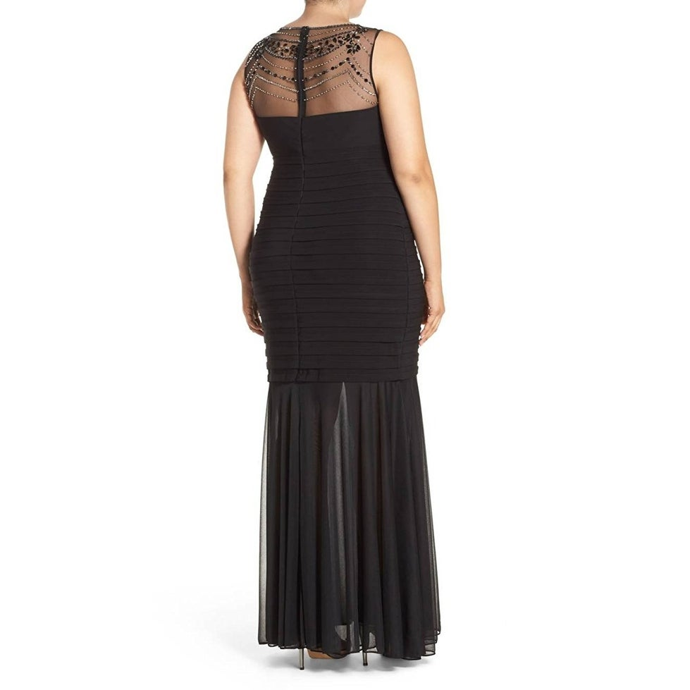 Shop Xscape NEW Black Womens Size 18W Plus Beaded Illusion Mermaid ...