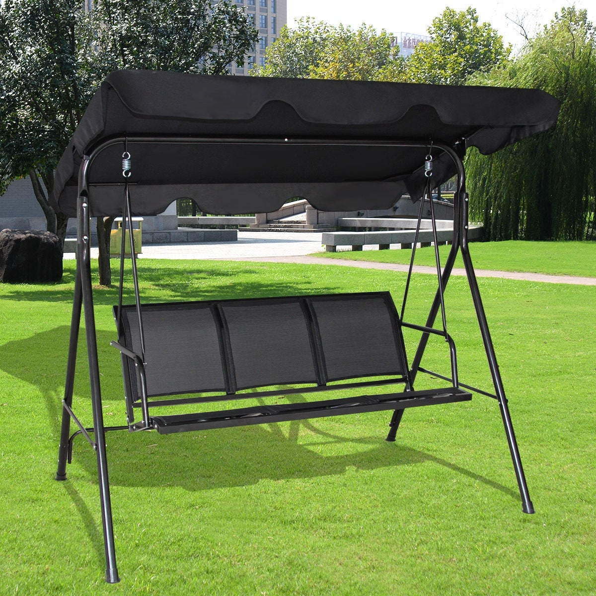 Costway Outdoor Patio Swing Canopy 3 Person Chair Hammock Black