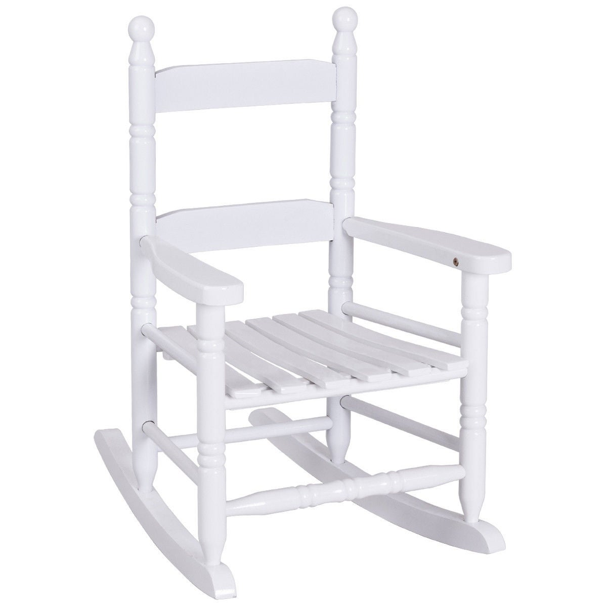 Shop Costway Classic White Wooden Children Kids Rocking Chair Slat Back  Furniture   Free Shipping Today   Overstock   18299577