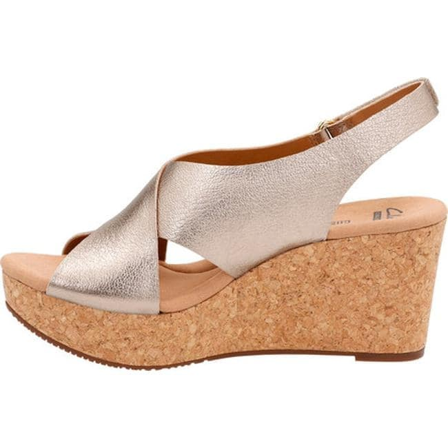c5f831ab9207 Shop Clarks Women s Annadel Eirwyn Slingback Wedge Sandal Gold Metallic  Leather - On Sale - Free Shipping Today - Overstock - 14201416