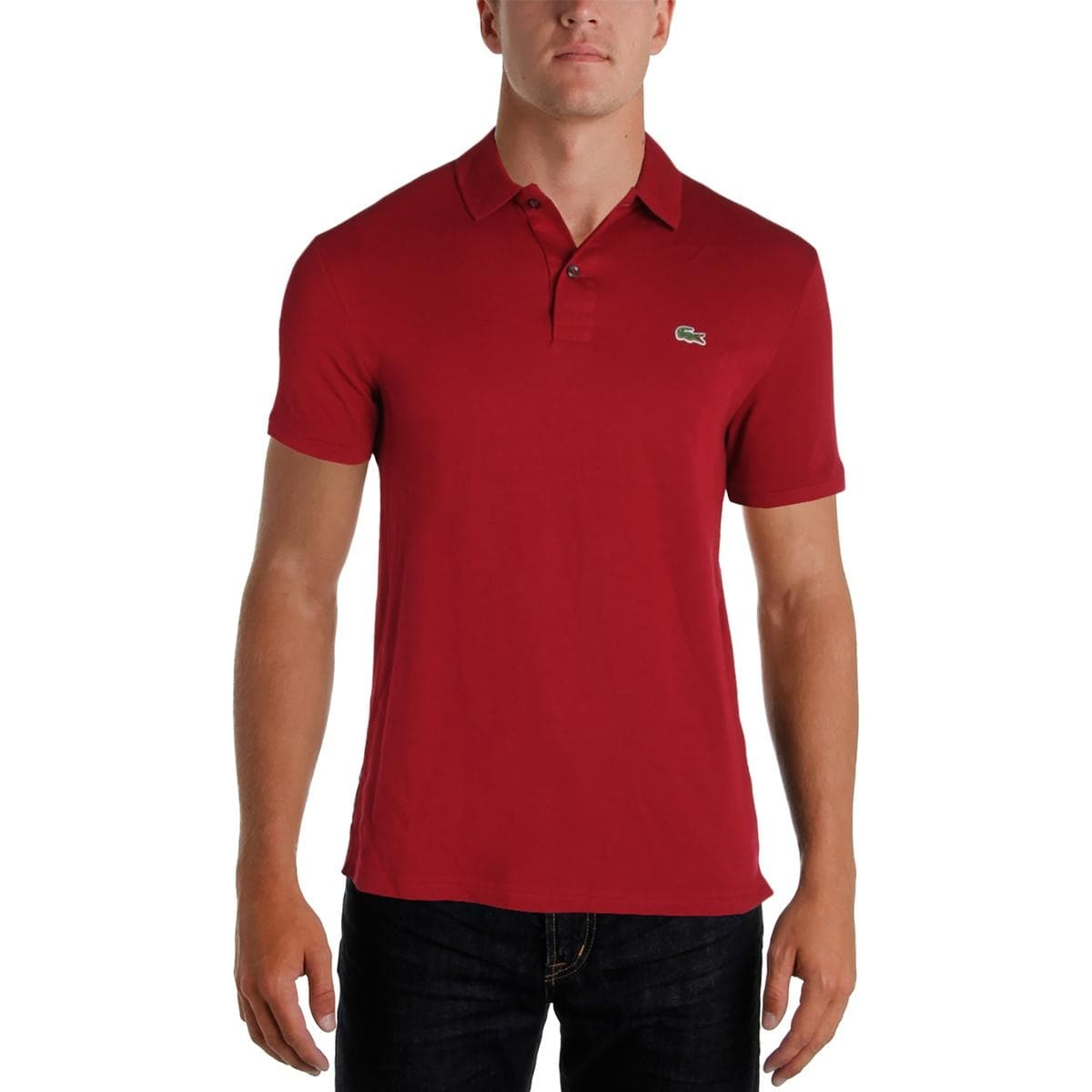 Shop Lacoste Mens Polo Shirt Slim Fit Double Button Free Shipping