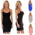 Womens Solid Camisole Beach Tank Dress Sundress - S Size