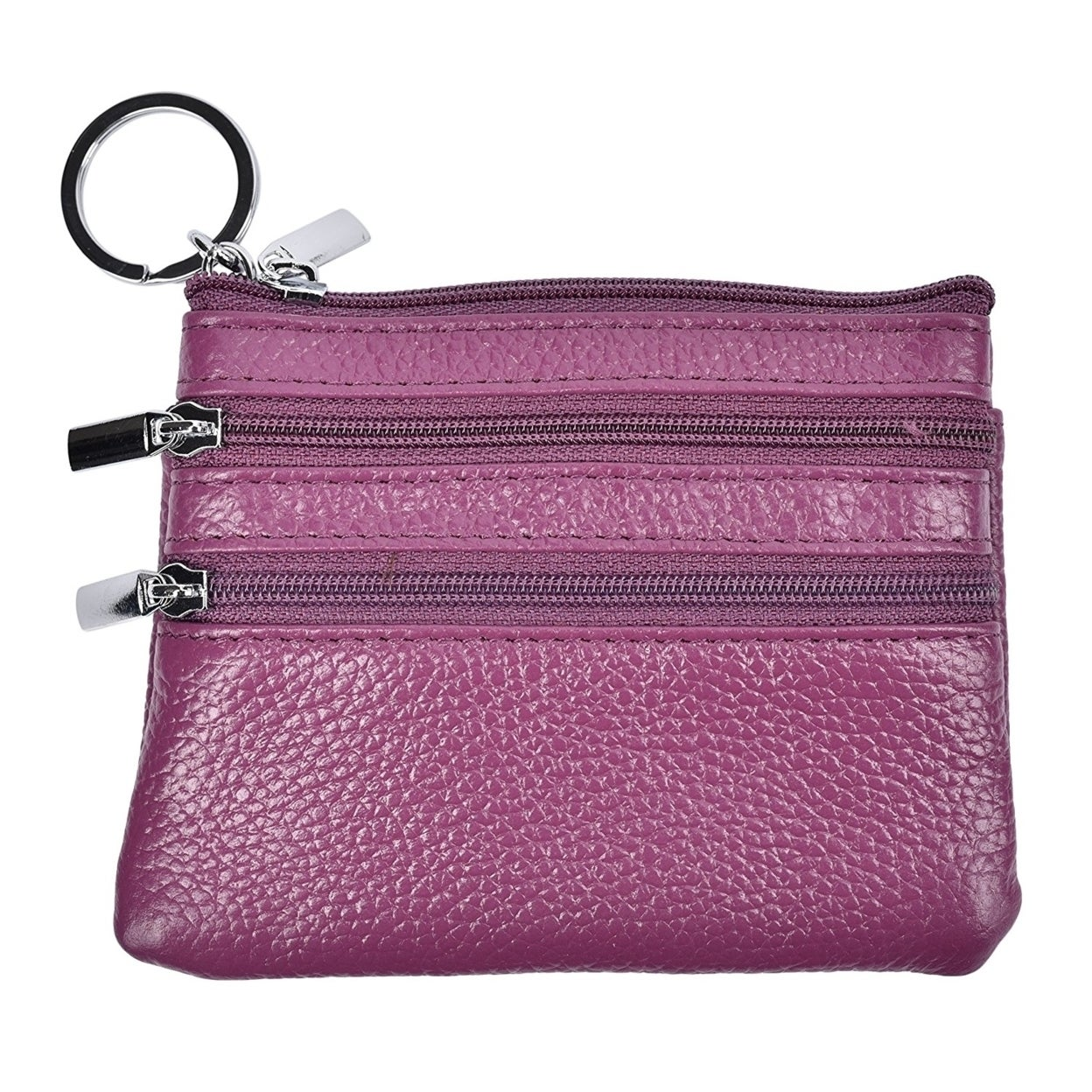 72ff42dec4f Shop Womens Mini Coin Purse Wallet Genuine Leather Zipper Pouch With Key  Ring - Free Shipping On Orders Over  45 - Overstock - 23119500