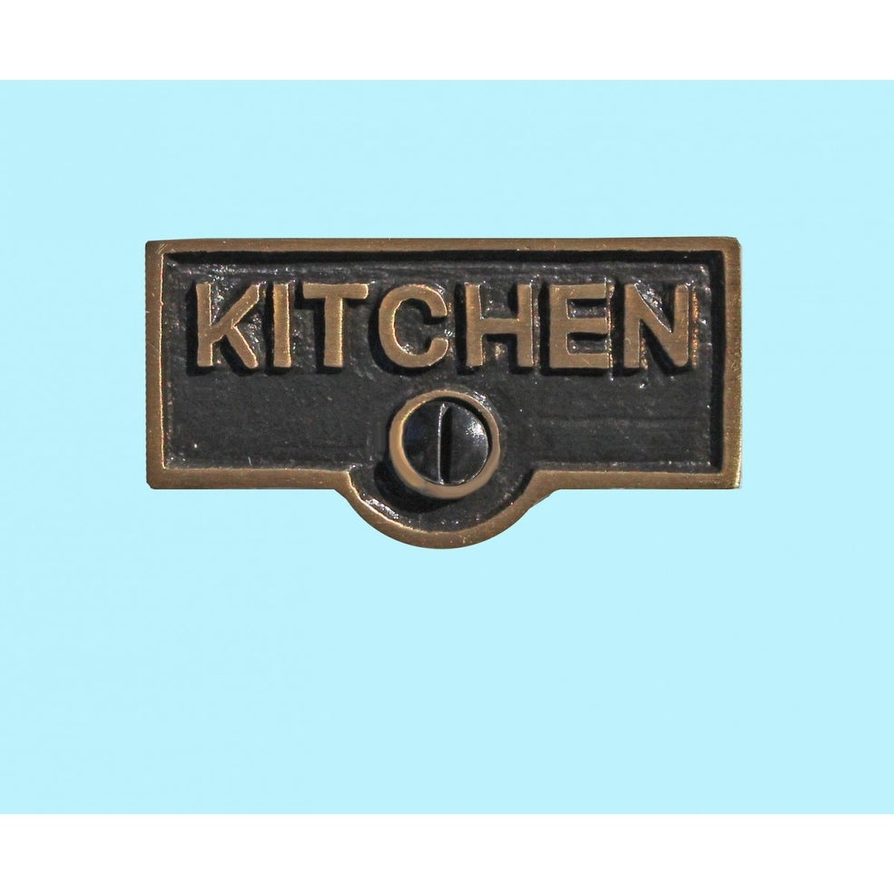 Shop Switch Plate Tags KITCHEN Name Signs Labels Antique Brass ...