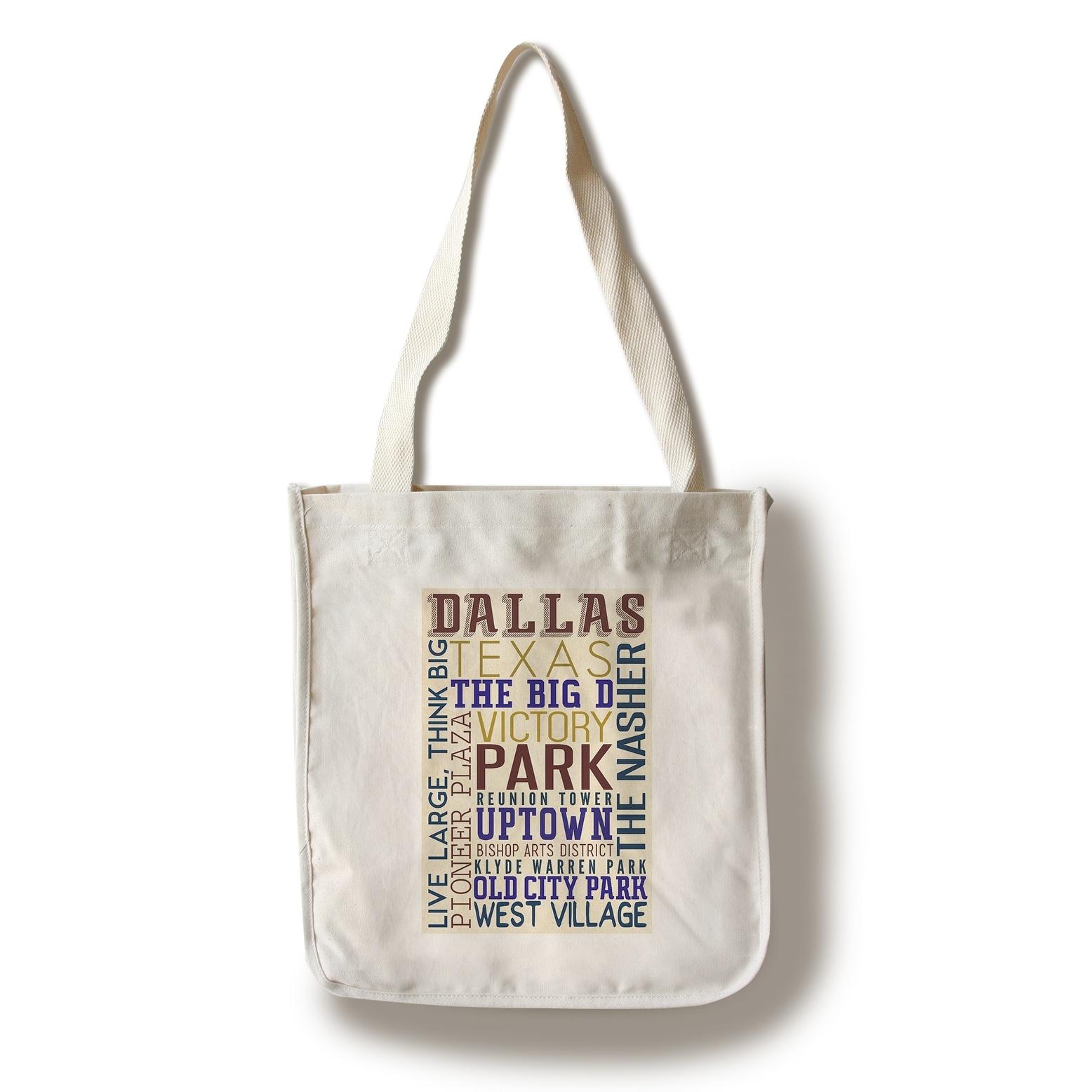 13574a9f3 Dallas, Texas - Typography - Lantern Press Artwork (100% Cotton Tote Bag -  Reusable)