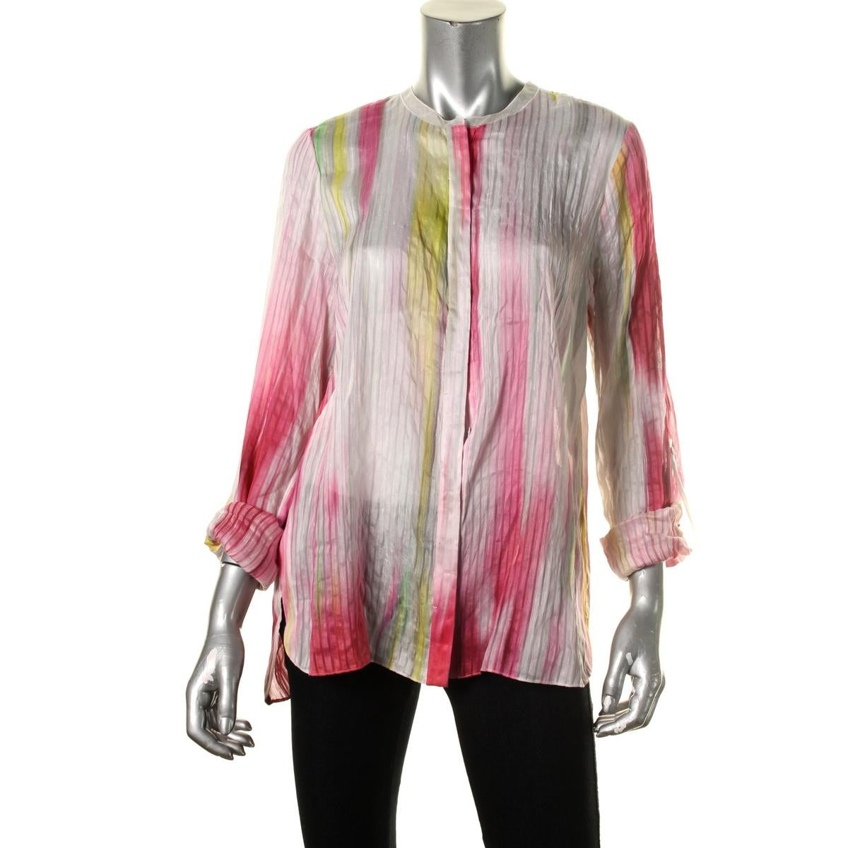 58a179dc923d Shop Elie Tahari Womens Carly Button-Down Top Linen Silk Blend - Free  Shipping Today - Overstock - 13957724