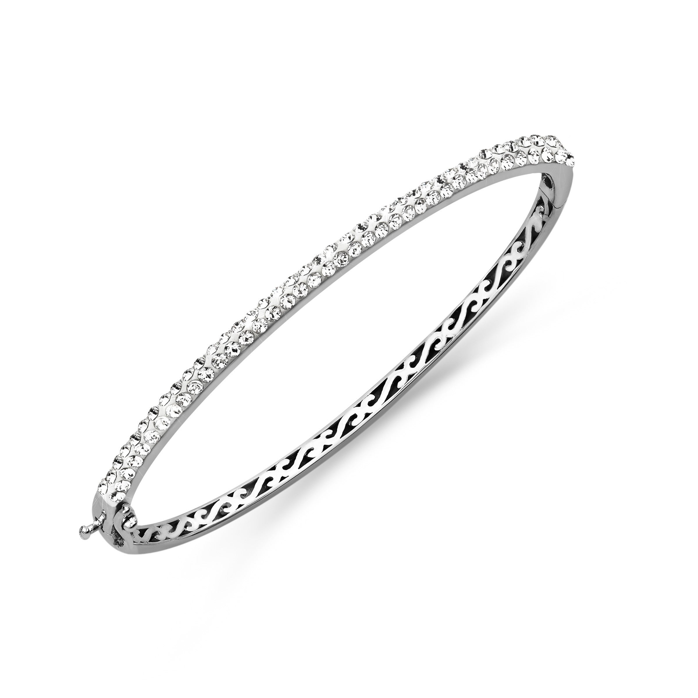 Shop Crystaluxe Bangle with White Swarovski Crystals in Sterling Silver -  On Sale - Free Shipping Today - Overstock - 18847647 1d9ed6fb73