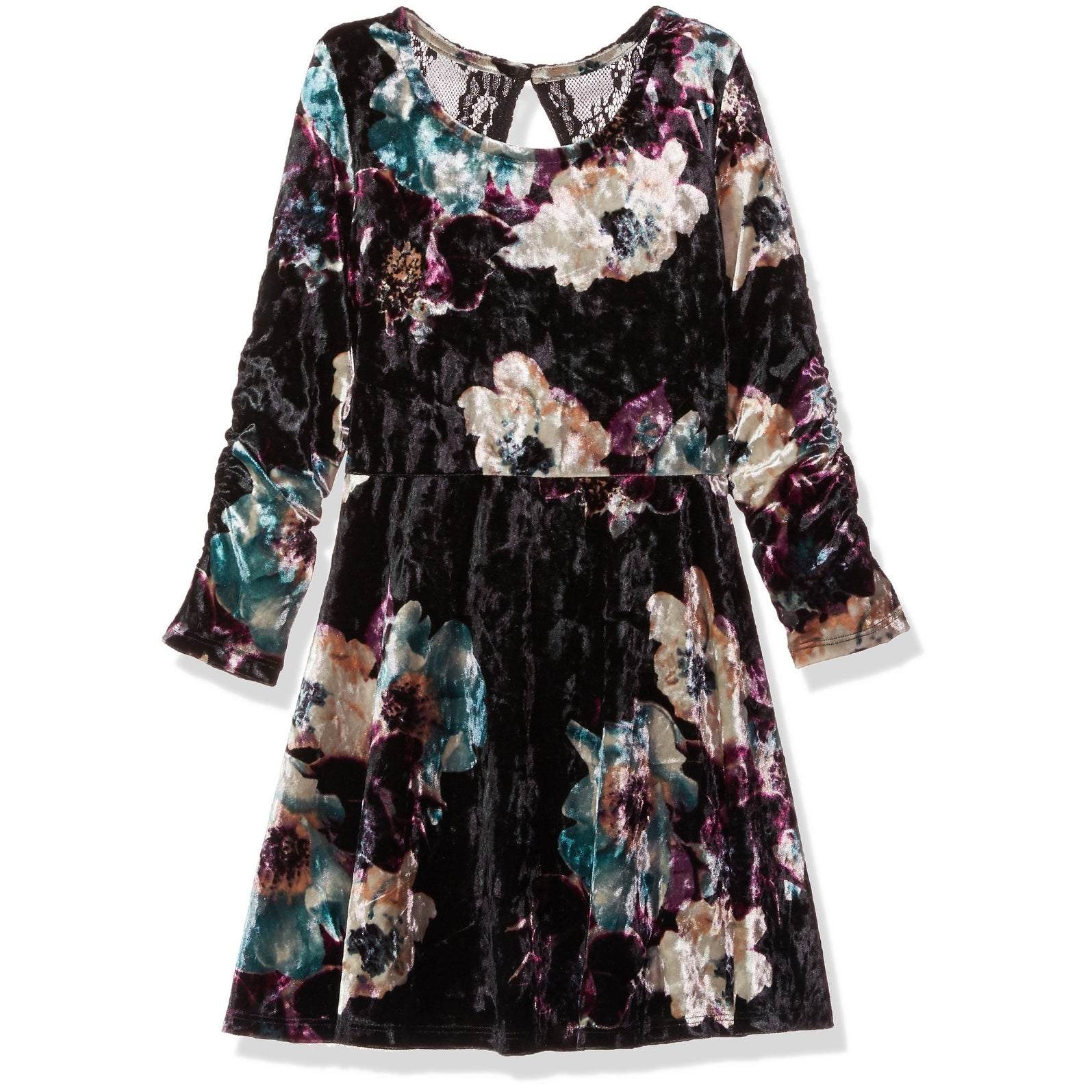 495cb5eb5f5e Shop My Michelle NEW Black Teal Girls  Size 10 Velvet Lace-Panel ...
