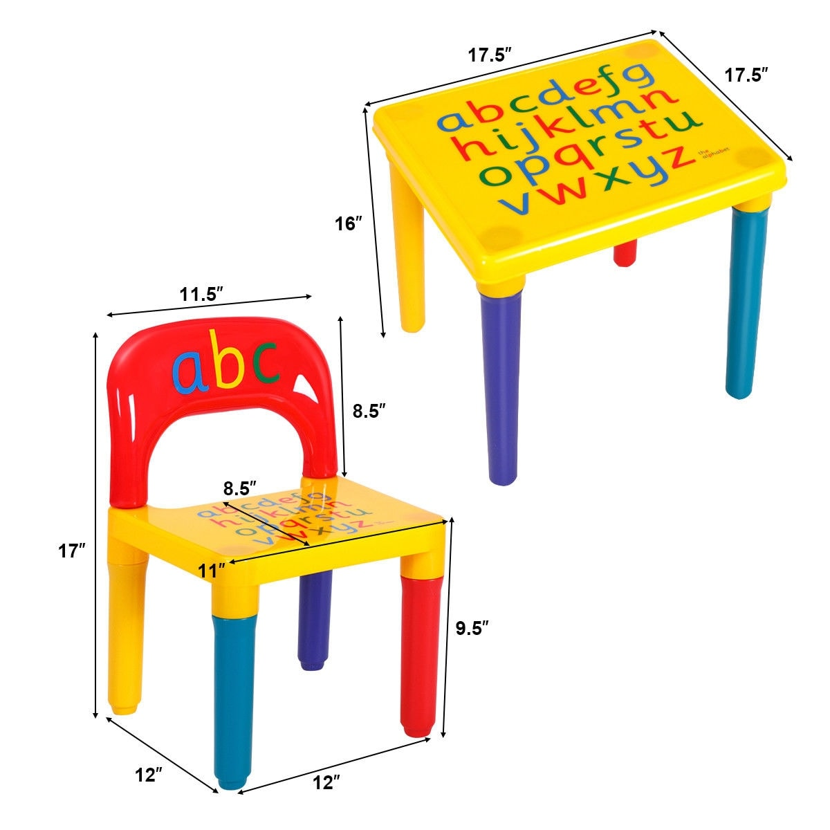 Shop Costway Letter Kids Table&Chairs Play Set Toddler Child Toy ...