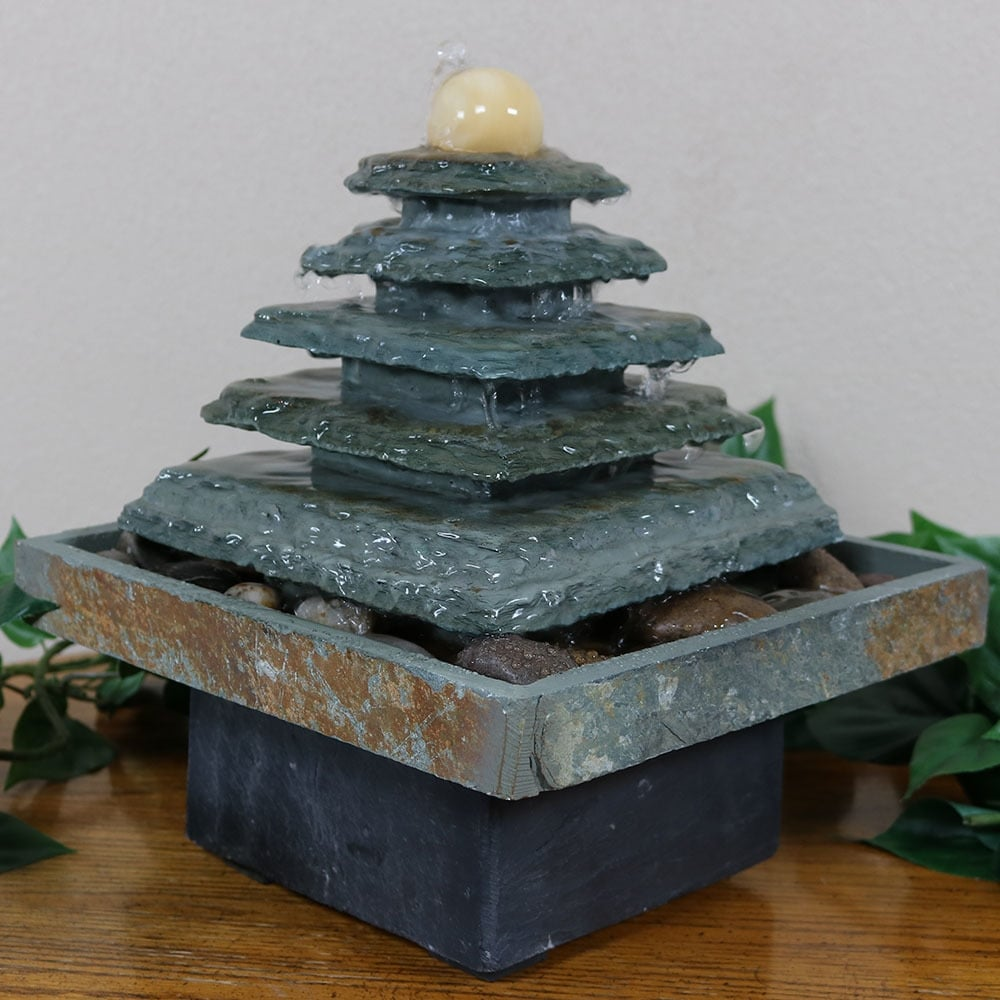 Sunnydaze Slate Pyramid Indoor Tabletop Water Fountain Electric 9 Inch