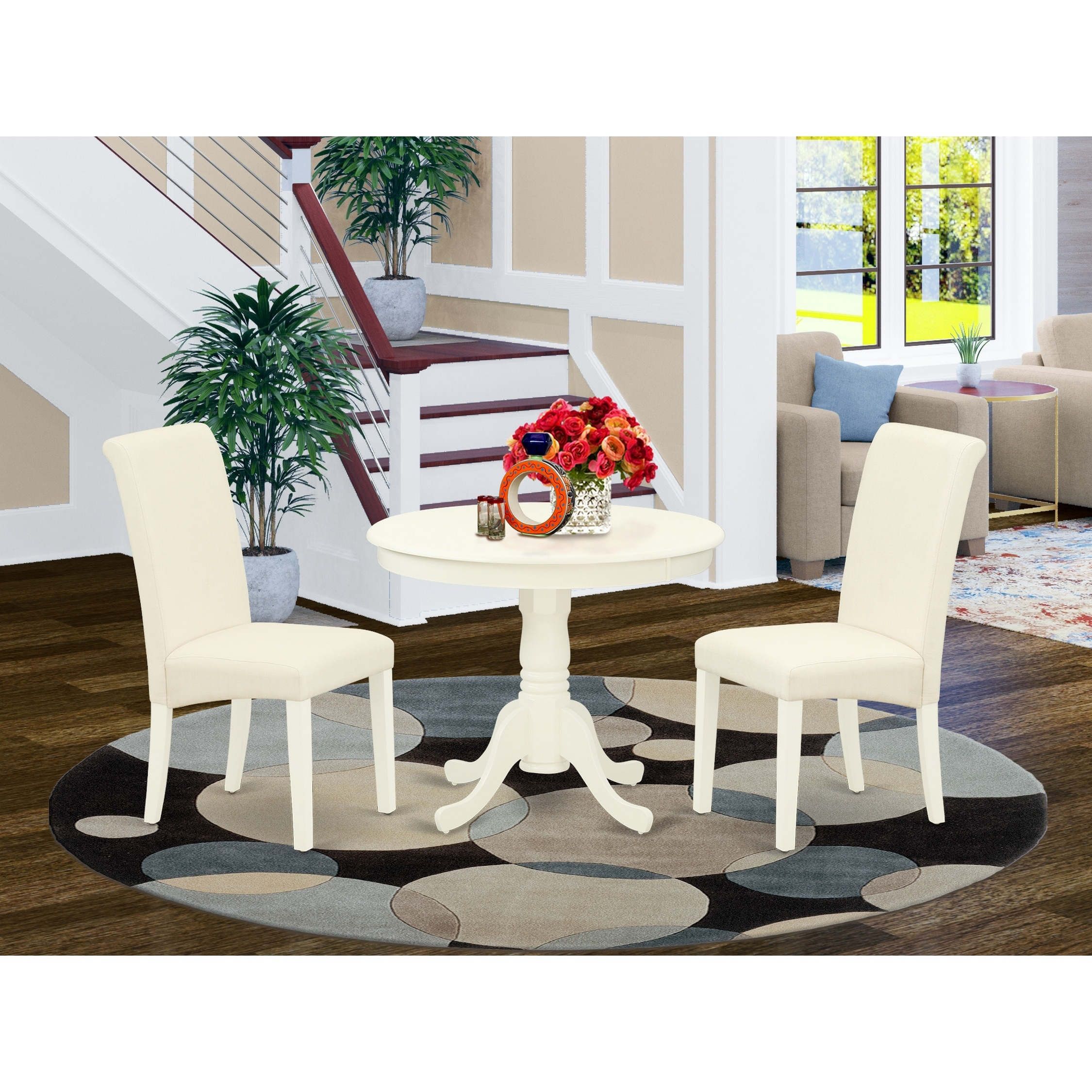 Round Small Table And Parson Chairs In Cream Linen Fabric Number Of Chairs Option Overstock 29820856
