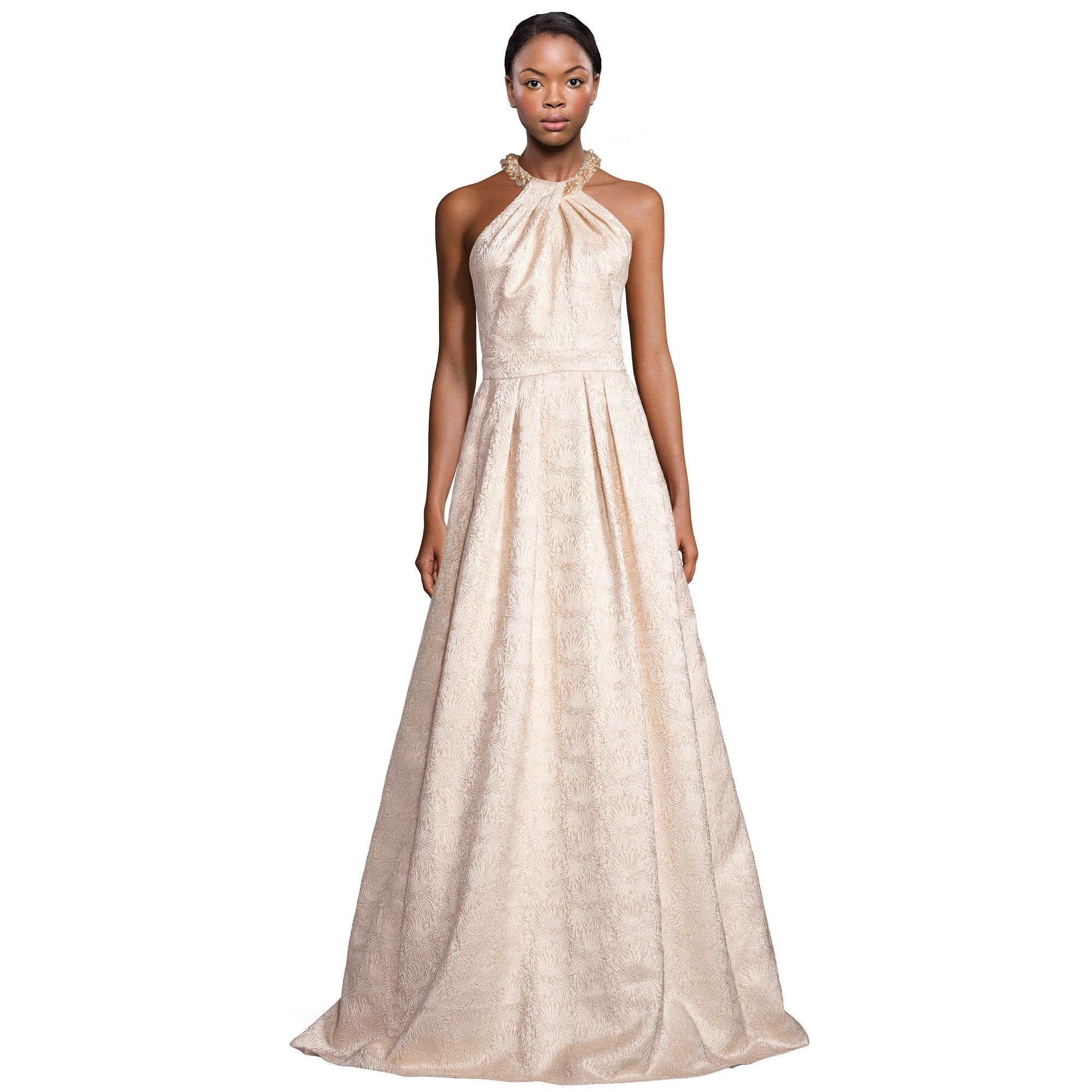 Shop Carmen Marc Valvo Beaded Neck Jacquard Halter Evening Gown ...