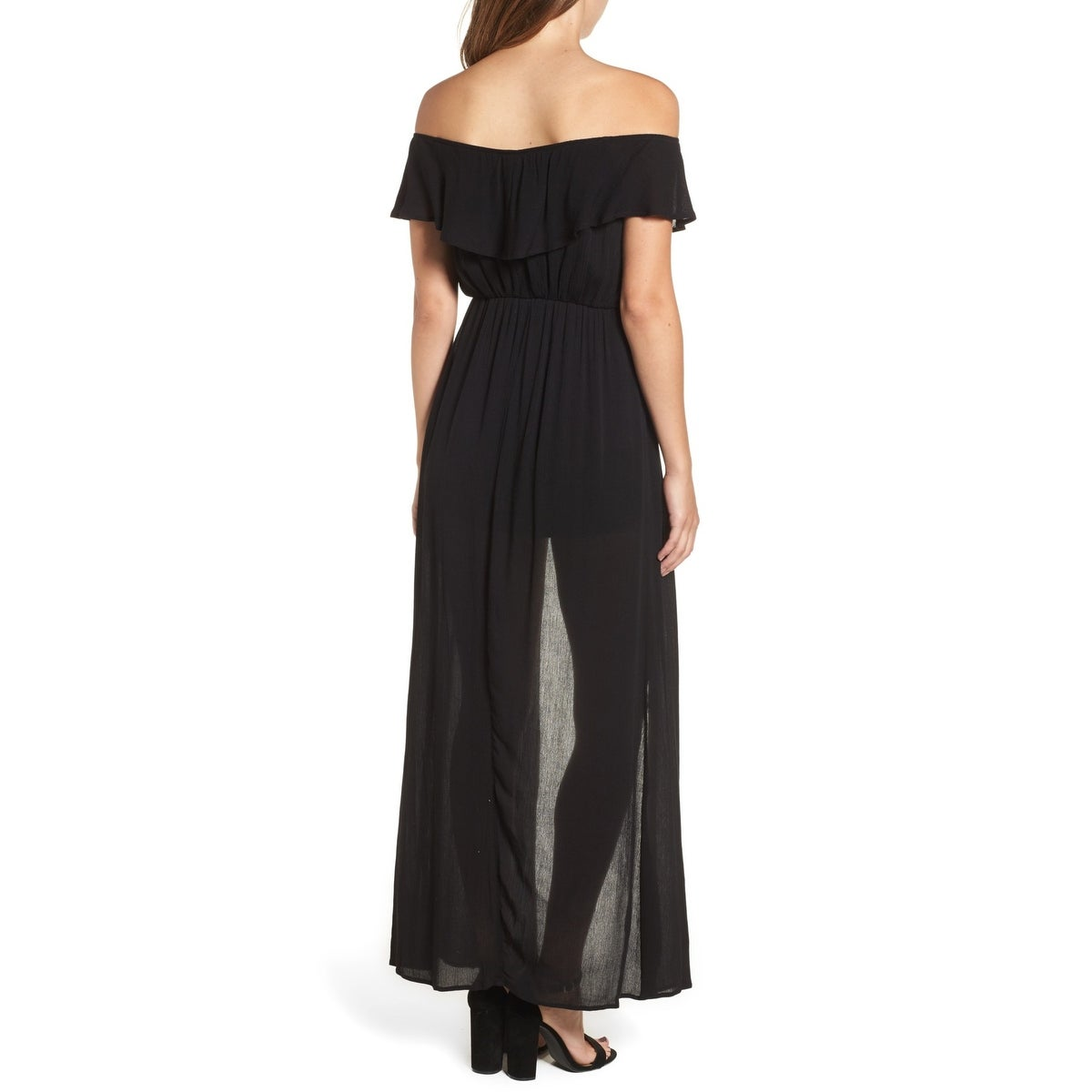 d76177f9643 Shop Dee Elly Black Womens Size Large L Off-Shoulder Gauze Maxi Romper -  Free Shipping On Orders Over  45 - Overstock - 22436536