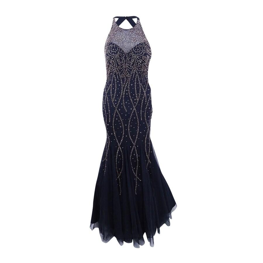 Shop Xscape Women\'s Beaded Open-Back Mermaid Gown - Charcoal - On ...