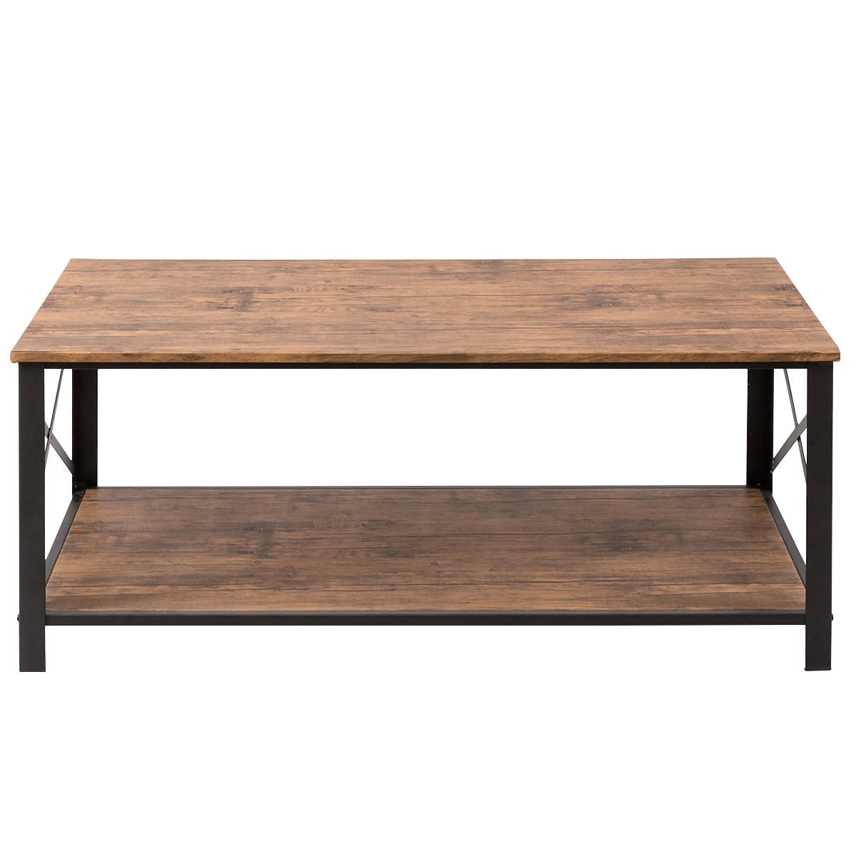 Costway Wood Coffee Table Tail Side Accent Metal Frame W Storage Shelf Free Shipping Today 17950514