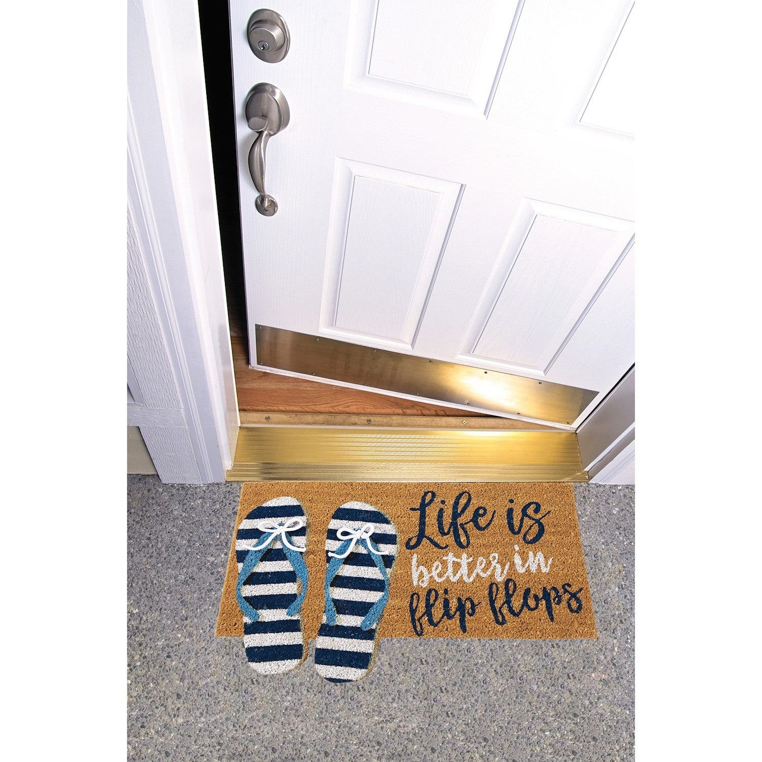 f6e96fc99 Shop Mud Pie Life Is Better In Flip-Flops Doormat - Coir Welcome Door Mat -  Home Decor Accessory - Biodegradable - 18 in. 29.5 in. - Free Shipping On  Orders ...