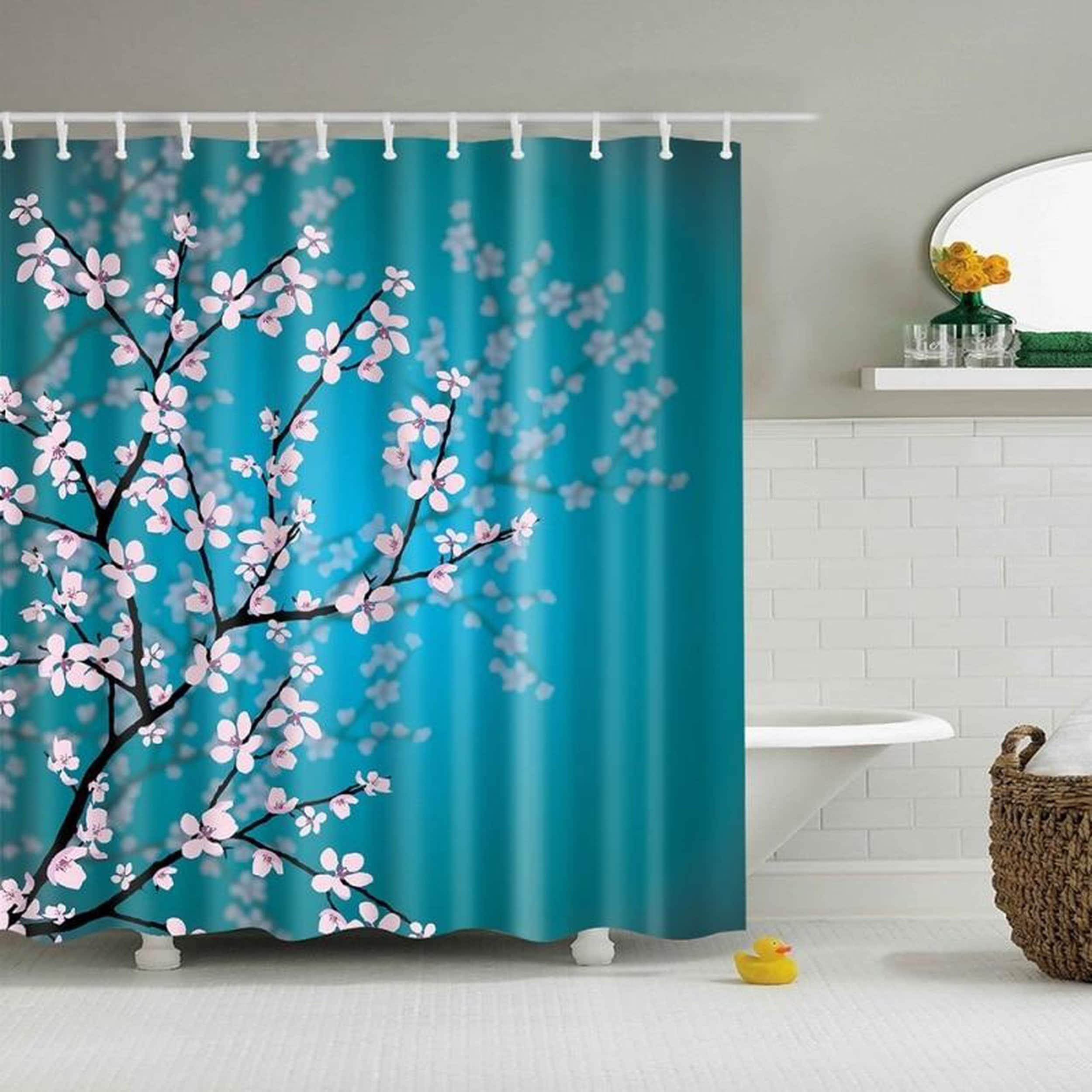 Bathroom Shower Curtains Pink Blossoms Decor Leaves And Plants Spring Flowers On Sale Overstock 25356688