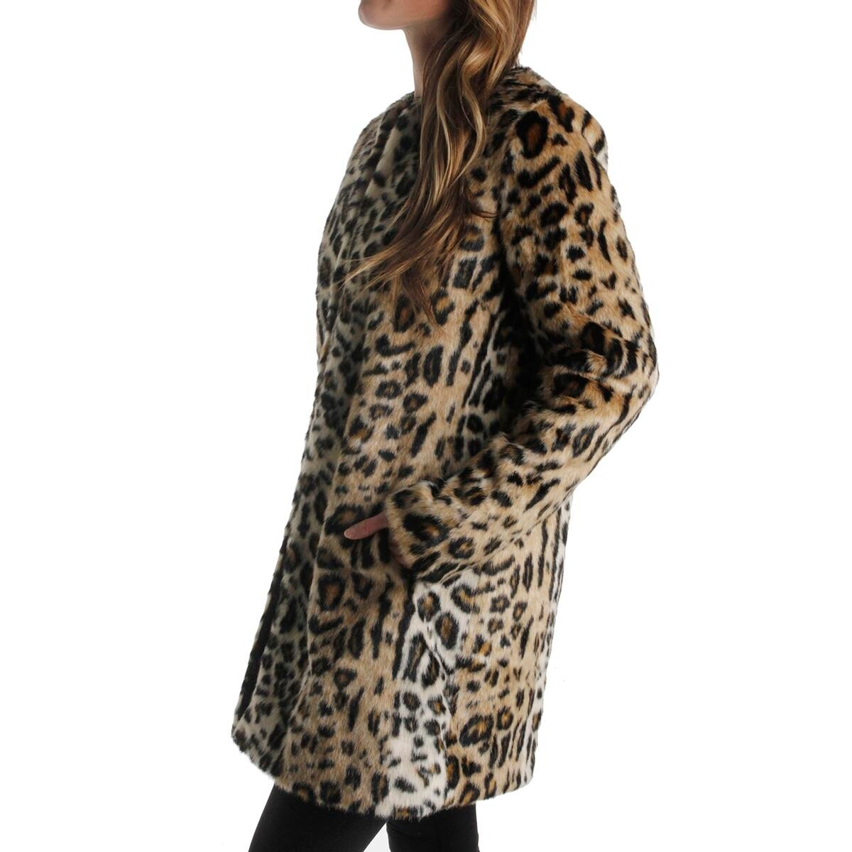 abaebc963ffc Shop T Tahari Womens Jenna Coat Faux Fur Animal Print - Free Shipping Today  - Overstock - 19628411