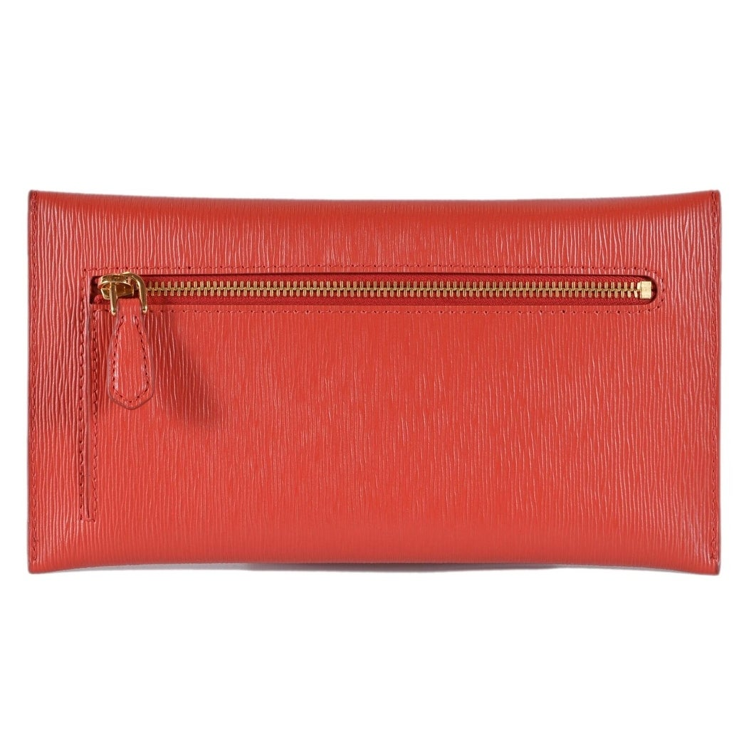 aaf8dd5fa90b76 Shop Prada 1MF175 2EZZ Red Vitello Saffiano Leather Flap Envelope Wallet  Clutch - Free Shipping Today - Overstock - 26952484