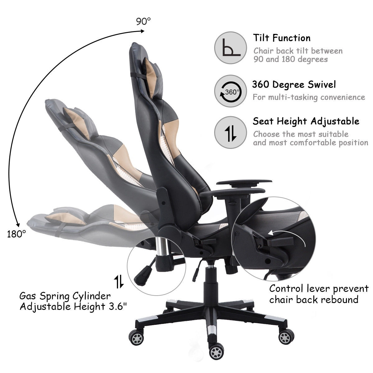 Shop Costway Executive Gaming Chair Racing Office Chair High Back w/Lumbar Support u0026 Headrest - Free Shipping Today - Overstock.com - 18730558  sc 1 st  Overstock.com & Shop Costway Executive Gaming Chair Racing Office Chair High Back w ...