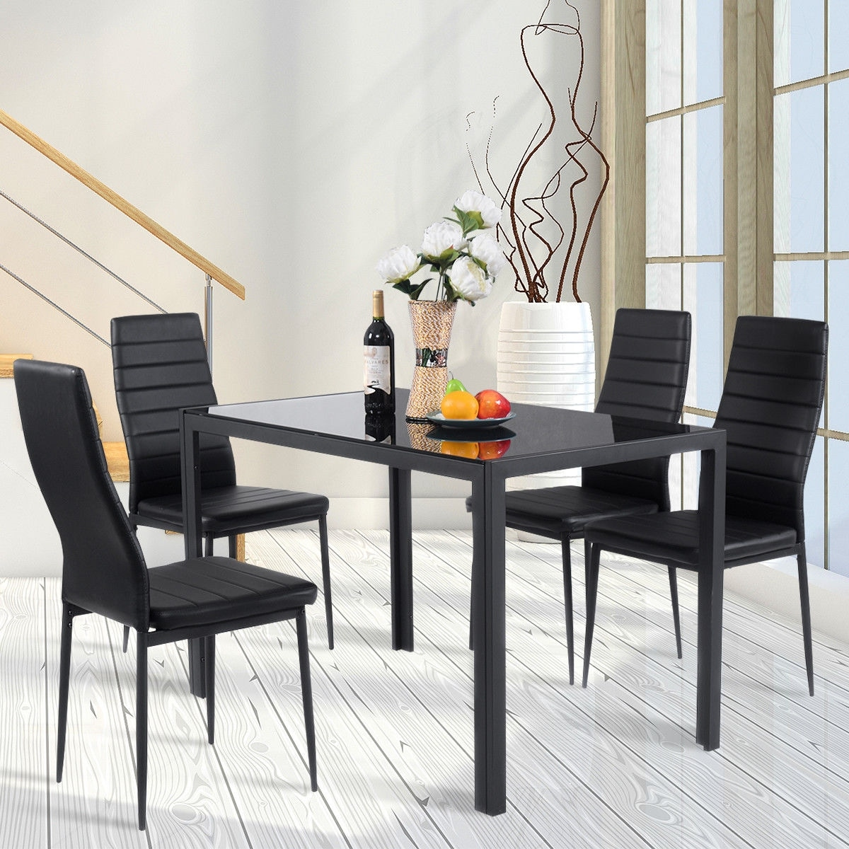 Marvelous Costway 5 Piece Kitchen Dining Set Glass Metal Table And 4 Chairs Breakfast  Furniture   Black