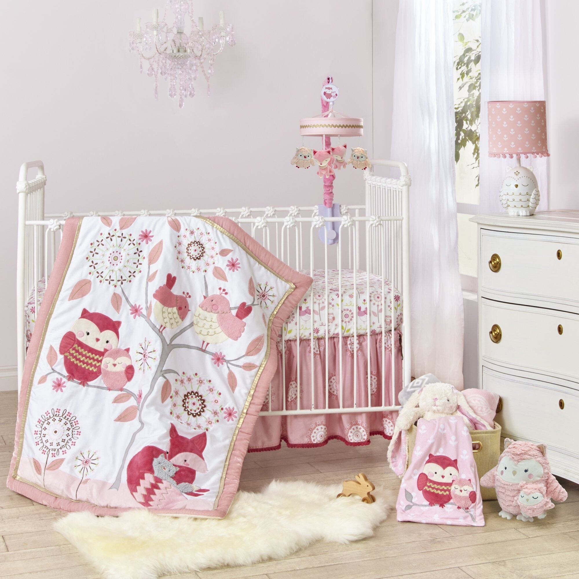 Lambs & Ivy Woodland Couture Pink/White Owl, Birds & Fox with Tree Nursery  3-Piece Baby Crib Bedding Set