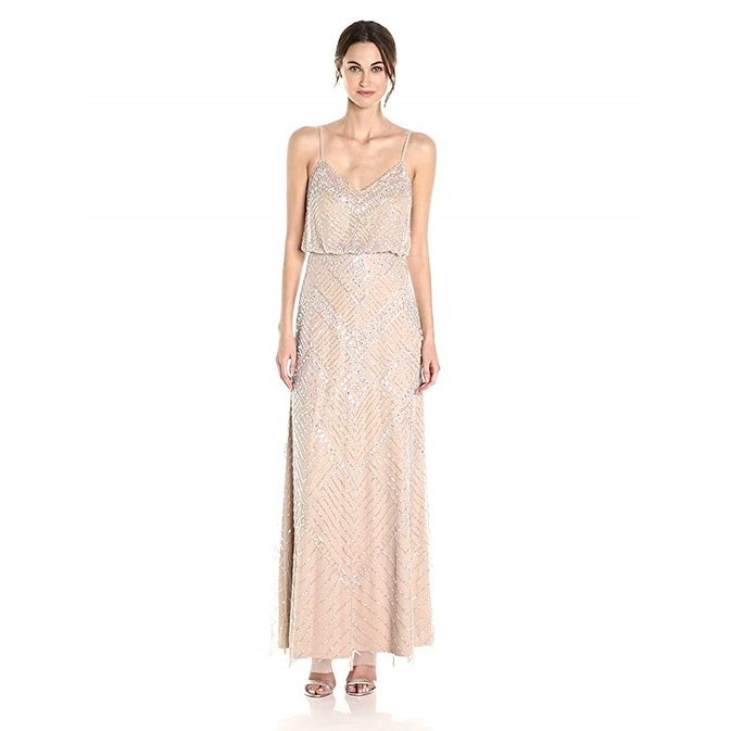 e885584ccac758 Shop Adrianna Papell Women's Beaded Spaghetti Strap Gown, Silver/Nude, 4 -  Free Shipping Today - Overstock - 22671259