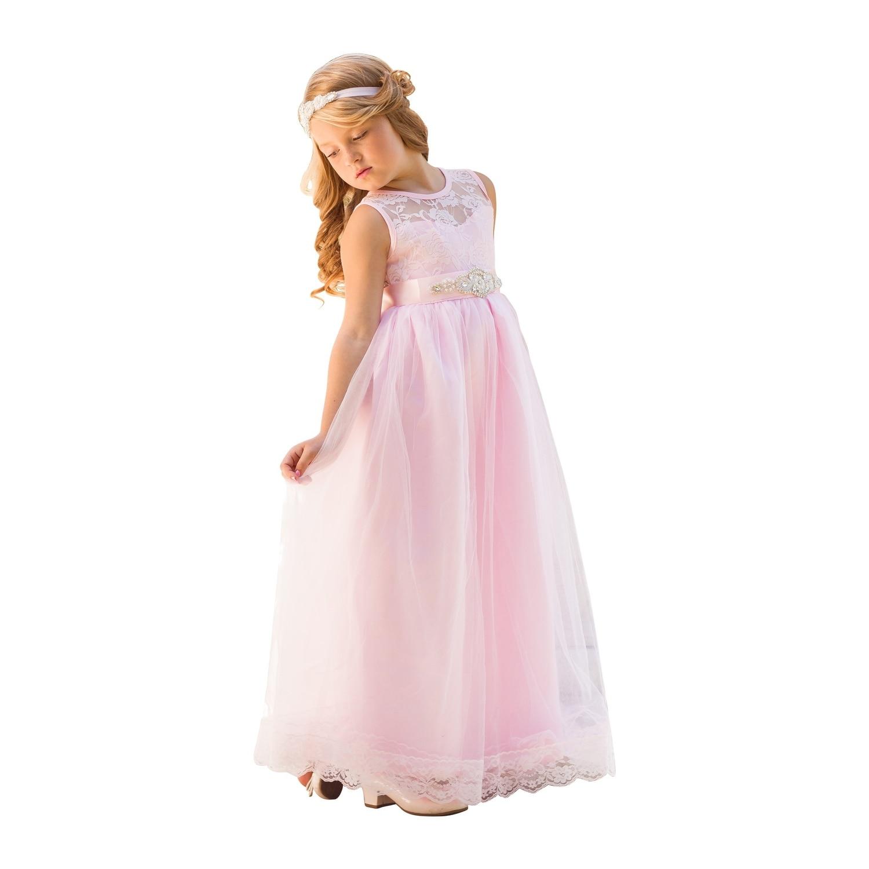 Shop Little Girls Light Pink Sash Lace Floor Length Scarlett Flower