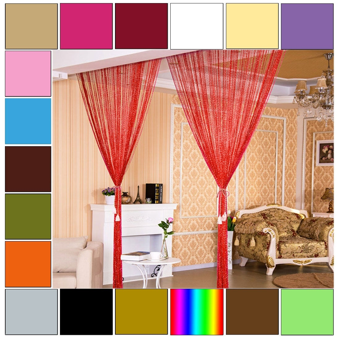 Home Decor Threads Glitter String Curtains One Panel 39x78