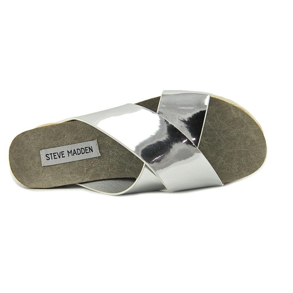 367c2a18552 Steve Madden Hassie Women Open Toe Synthetic Silver Platform Sandal