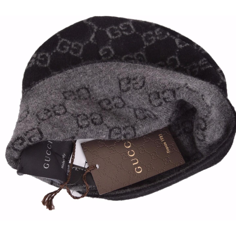 5bae7eea4c3 Shop Gucci Men s 387577 Black 100% Cashmere GG Guccissima Beanie Ski Winter  Hat - Free Shipping Today - Overstock - 17096574