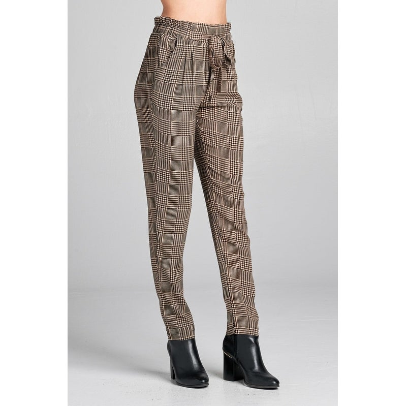 453f22bd7d26 Shop Ladies Fashion Plus Size Self Ribbon Detail Long Leg Checked Print  Woven Pants - Size - 2Xl - Free Shipping Today - Overstock - 23166531